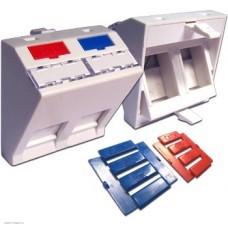 Вставка Lanmaster 45x45 на 2 кейстоуна, угловая, со шторкой, маркировкой и иконками, белая