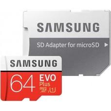 Флеш карта microSDXC 64Gb Class10 Samsung MB-MC64HA/RU EVO PLUS + adapter