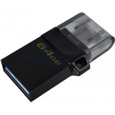 Флеш Диск Kingston 64Gb DataTraveler microDuo 3 G2 DTDUO3G2/64GB USB3.0 черный