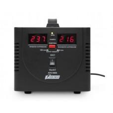 Стабилизатор POWERMAN AVS 500D, черный, ступенчатый регулятор, цифровые индикаторы уровней напряжения, 500ВА, 140-260В, максимальный входной ток 5А, 2 евророзетки, IP-20, напольный,  200мм х 150мм х 140мм, 2,3 кг. POWERMAN AVS 500D Black