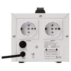 Стабилизатор POWERMAN AVS 500D, ступенчатый регулятор, цифровые индикаторы уровней напряжения, 500ВА, 140-260В, максимальный входной ток 5А, 2 евророзетки, IP-20, напольный,  200мм х 150мм х 140мм, 2,3 кг. POWERMAN AVS 500D