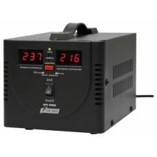 Стабилизатор POWERMAN AVS 1000D, черный, ступенчатый регулятор, цифровые индикаторы уровней напряжения, 1000ВА, 140-260В, максимальный входной ток 7А, 2 евророзетки, IP-20, напольный,  200мм х 150мм х 140мм, 2,3 кг. POWERMAN AVS 1000D Black