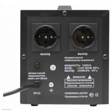 Стабилизатор POWERMAN AVS 1500D, черный, ступенчатый регулятор, цифровые индикаторы уровней напряжения, 1500ВА, 140-260В, максимальный входной ток 10А, 2 евророзетки, IP-20, напольный,  200мм х 160мм х 190мм, 4 кг. POWERMAN AVS 1500D Black