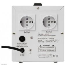 Стабилизатор POWERMAN AVS 1500D, ступенчатый регулятор, цифровые индикаторы уровней напряжения, 1500ВА, 140-260В, максимальный входной ток 10А, 2 евророзетки, IP-20, напольный,  200мм х 160мм х 190мм, 4 кг. POWERMAN AVS 1500D