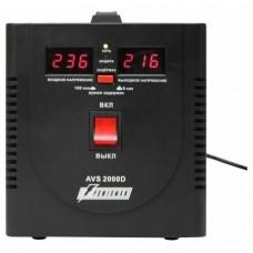 Стабилизатор POWERMAN AVS 2000D, черный, ступенчатый регулятор, цифровые индикаторы уровней напряжения, 2000ВА, 140-260В, максимальный входной ток 12А, 2 евророзетки, IP-20, напольный,  200мм х 160мм х 190мм, 4.9 кг. POWERMAN AVS 2000D Black