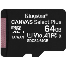 Карта памяти 64Gb MicroSD Kingston Canvas Select Plus Class 10 (SDCS2/64GBSP)