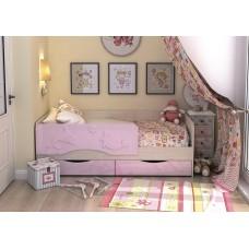 Кровать Алиса 1,4 (Розовый маталлик)