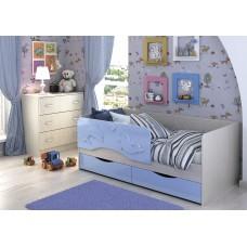 Кровать Алиса 1,4 (Голубой маталлик)