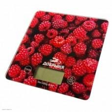 Весы кухонные Добрыня DO-3015A (15*15см, 5кг) малина