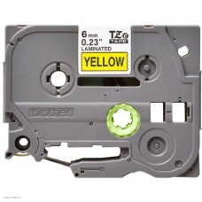 Картридж Brother TZe611: для печати наклеек черным на желтом фоне, ширина 6 мм