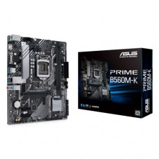 Материнская плата ASUS PRIME B560M-K, LGA1200, B560, 2*DDR4, D-Sub + HDMI, SATA3 + RAID, Audio, Gb LAN, USB 3.2*6, USB 2.0*6, COM*1 header (w/o cable), mATX; 90MB16S0-M0EAY0