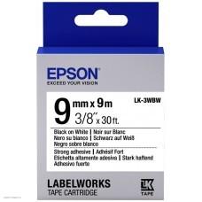 Лента Epson Tape LK3WBW Strng adh Blk/Wht 9/9 C53S653007