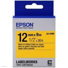 Лента Epson Tape LK-4YBP Pastel Blk/Yell 12/9 C53S654008