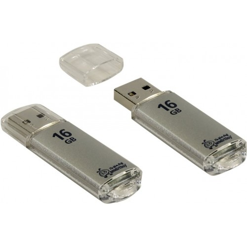 Накопитель USB 2.0 Flash Drive 16Gb Smartbuy V-Cut Silver