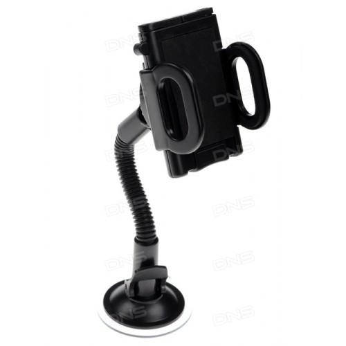 Держатель автомобильный Ginzzu GH-583 black 50-115mm, универсальный, на стекло, пластик