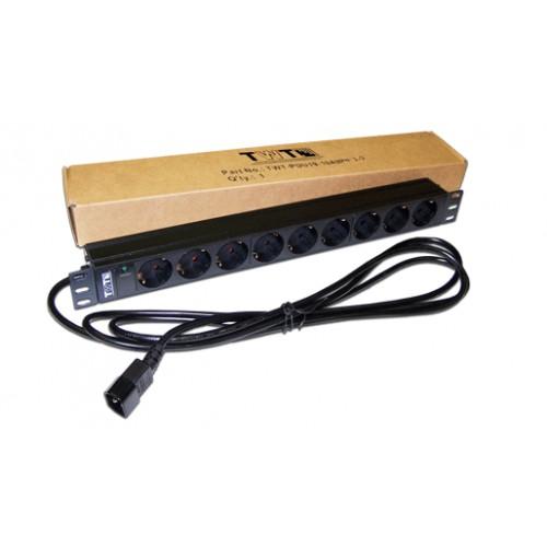 """Блок розеток 19"""" 9 шт. без выключателя, 10A 250V (TWT-PDU19-10A9P4-3.0)"""
