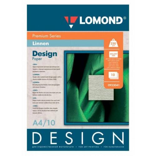 Дизайнерская бумага Лён (Linen), Матовая, A4, 230 г/м2, 10 листов (0933041)