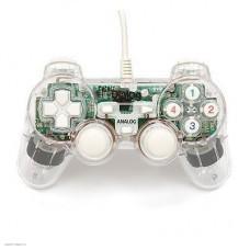 Геймпад Dialog GP-A11EL прозраный(подсветка), проводной, 2 мини-джойстика, крестовина, 12 кнопо, виброотдача