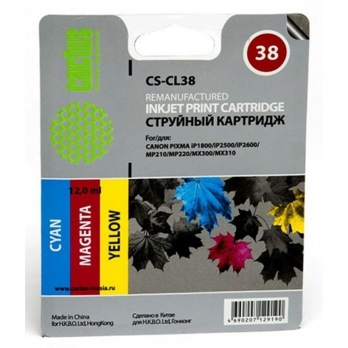 Картридж-чернильница CL-38 (Cactus CS-CL38) Canon PIXMA iP1800/iP2500/iP2600/MP210 Color