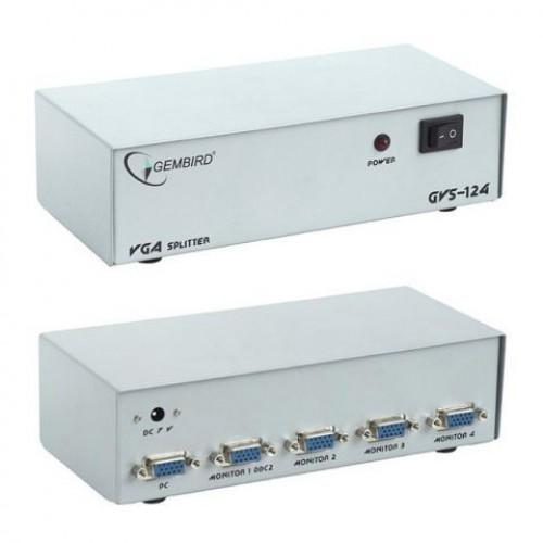 Разветвитель VGA Gembird/Cablexpert 1 компьютер-4 монитора, каскадируемый (HD15F/4x15F)