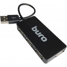 Концентратор USB 2.0 HUB 4-port Buro BU-HUB4-U2.0-Slim, черный