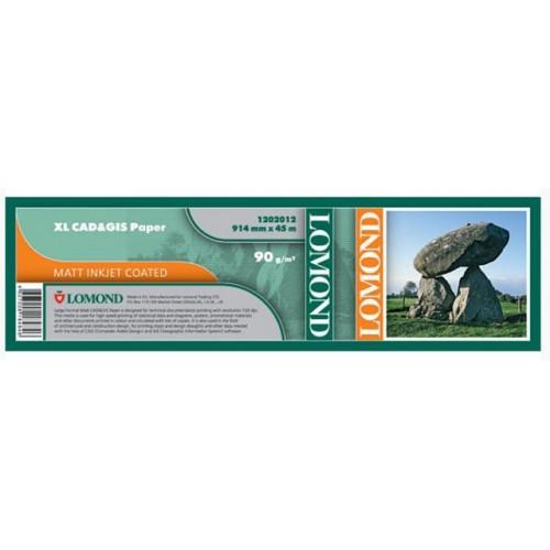 Бумага Lomond для струйной печати ролик 914 мм x 45 м (A0+),  90 г/м2, матовая CAD/GIS (1202012)