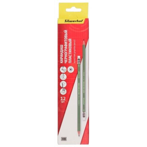 Карандаш чернографитный Azimut пластиковый с ластиком (121223-03)