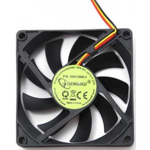 Вентилятор  80x80x25мм Gembird D8015BM-3 2600rpm, 3pin