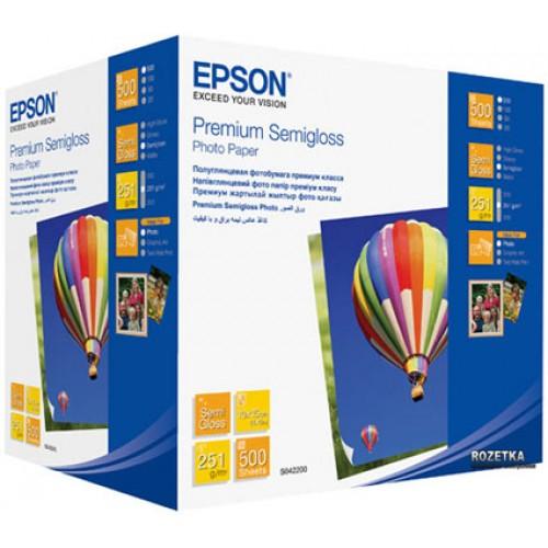 Бумага Epson 10x15см, 251 г/м2, 500 листов, glossy, premium semigloss (C13S042200)