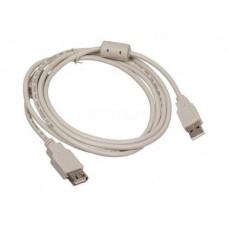 Кабель USB 2.0 Am-Af удлинитель 1.8м, ферритовый фильтр, серый (USB2.0-AM-AF-1.8M-MG)