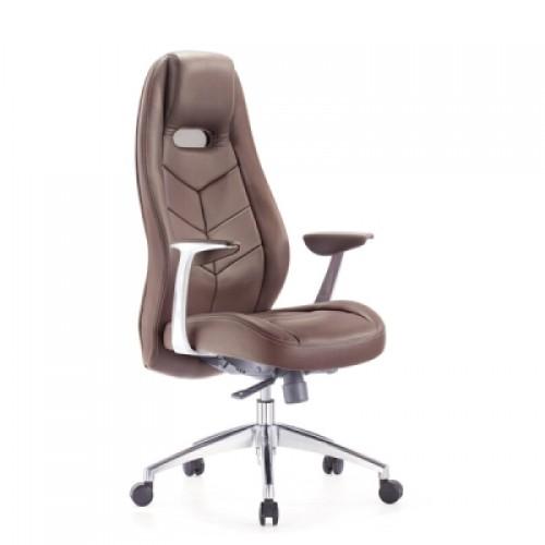 Кресло руководителя Бюрократ Zen/Brown коричневый кожа (алюминий)