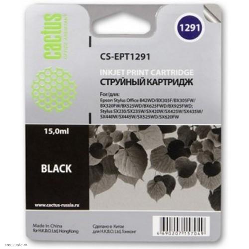 Картридж T1291 (Cactus CS-EPT1291) Epson Stylus Office B42/BX305/BX305F/BX320/BX525/BX625/SX420/SX425/SX525/SX620 Black 15 ml